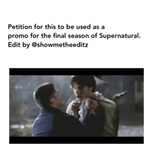 Memes, Lucifer, and Supernatural: Petition for this to be used as a  promo for the final season of Supernatural  Edit by @showmetheeditz [ Credit @showmetheeditz ] comment below if you'd sign 👇🏻🔥 ———————- —————————- supernatural spn sam dean samwinchester deanwinchester supernaturalseason14 jaredpadalecki jensenackles spnscenes cas castiel jackkline mishacollins alexandercalvert demondean nephilim marywinchester spn14 bobbysinger crowley lucifer kingofhell