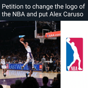 Let's do this! 🔥 https://t.co/LNBmSUqgpQ: Petition to change the logo of  the NBA and put Alex Caruso  ur  AAA.com  UCLA  TANCERS  CHF  25  @NBAMEMES  EAST WESTL K  AINZLMPPIAK  NBA  ΤΟΥOΤ Let's do this! 🔥 https://t.co/LNBmSUqgpQ