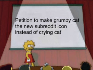 Rest In Peace grumpy cat.: Petition to make grumpy cat  the new subreddit icon  instead of crying cat Rest In Peace grumpy cat.