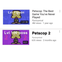 Petscop: Petscop: The Best  Game You've Never  Played  Pyrocynical  4M views 1 year ago  Lvl i goon  1:21:50  Lvl 100 boss F  Petscop 2  Pyrocynical  635 views 2 months ago  0:21