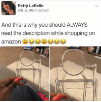 Amazon, Memes, and Petty: Petty LaBelle  @B is 4Bombshell  And this is why you should ALWAYS  read the description while shopping on  amazon 😂😫 (@girlwithnojob)