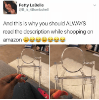 Amazon, Funny, and Petty: Petty LaBelle  @B is Bombshell  And this is why you should ALWAYS  read the description while shopping on  amazon