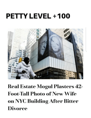 Anaconda, Money, and Petty: PETTY LEVEL +100  b E  Real Estate Mogul Plasters 42-  Foot-Tall Photo of New Wife  on NYC Building After Bitter  Divorce Money + pettiness =