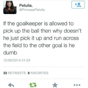 Dumb, Run, and Goal: Petulia  @PrincessPetulia  If the goalkeeper is allowed to  pick up the ball then why doesn't  he just pick it up and run across  the field to the other goal is hee  dumb  12/06/2014 21:53  33 RETWEETS 8 FAVORITES