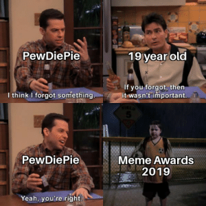 Option 6: PewDiePie  19 year old  If you forgot, then  it wasn't important. T  I think I forgot something.  5.  PewDiePie  Meme Awards  2019  Yeah, you're right. Option 6