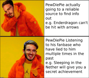 True, Sleeping, and Secret: PewDiePie actually  going to a reliable  source to find info  out  e.g. Enderdragon can't  be hit with arrows  PewDiePie Listening  to his fanbase who  have lied to him  multiple times in the  past  e.g. Sleeping in the  Nether will give you a  secret achievement Isn't this true?