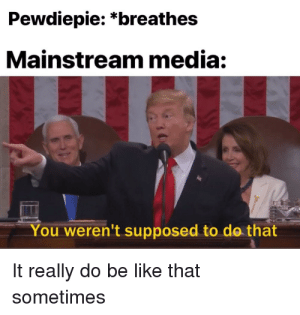 Be Like, Media, and You: Pewdiepie: *breathes  Mainstream media:  You weren't supposed to do that  It really do be like that  sometimes Pewdiepie is better than T-Series