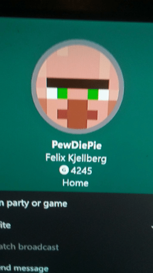 Nani: PewDiePie  Felix Kjellberg  4245  Home  n party or game  ite  atch broadcast  end message Nani