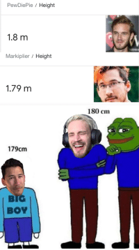 markiplier: PewDiePie / Height  1.8 m  Markiplier / Height  1.79 m  180 cm  179cm  BIG  BOY
