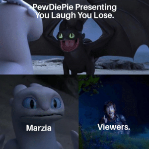 Autism, You, and Lose: PewDiePie Presenting  You Laugh You Lose.  Viewers.  Marzia Pewds have autism! #AutisticPewd