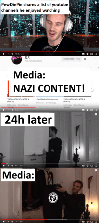 youtube.com, Death, and Content: PewDiePie shares a list of youtube  channels he enjoyed watching  mA  13:46/1747  E:R  95,750 subscribers  SUBSCRIBED 195K  Media:  NAZI CONTENT!  THE LAST DEATH NOTE R  (Part 2)  292K views 2 months ago  Can't Deal with It Anymore  99K views 2 months ago  THE LAST DEATH NOTE R  (Part 1)  449K views 3 months ago  5:40/16:01  24h later  I 0:51/16:1:2  Media:  7:47 / 16:12