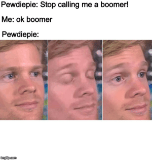 Say It, Com, and You: Pewdiepie: Stop calling me a boomer!  Me: ok boomer  Pewdiepie:  imgfip.com Pewdiepie, I'll say it now and I'll say it again, you can't stop us from calling u boomer :)