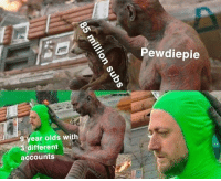Memes, 🤖, and Pewdiepie: Pewdiepie  to  9-Vear olds with  different  accounts