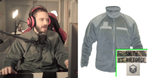 Pewdiepie wore a US Air Force fleece jacket. Hi Pewdiepie from all 9 and 19-year-old US Airmen: Pewdiepie wore a US Air Force fleece jacket. Hi Pewdiepie from all 9 and 19-year-old US Airmen