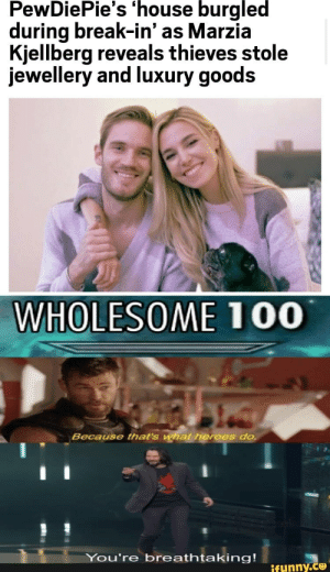 Break, Heroes, and House: PewDiePie's 'house burgled  during break-in' as Marzia  Kjellberg reveals thieves stole  jewellery and luxury goods  WHOLESOME 100  Because that's what heroes do  You're breathtaking!  ifunny.co wholesome!