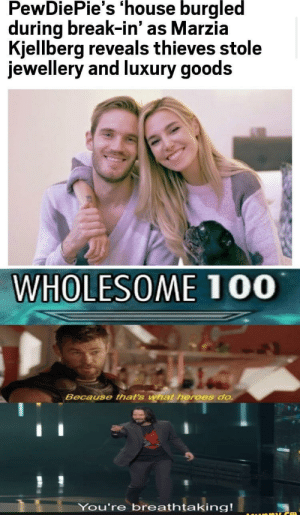 Reddit, Break, and Heroes: PewDiePie's 'house burgled  during break-in' as Marzia  Kjellberg reveals thieves stole  jewellery and luxury goods  WHOLESOME 100  Because that's what heroes do.  You're breathtaking! Reddit 100