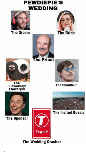 A beautiful wedding except for the bottom part: PEWDIEPIE'S  WEDDING  The Bride  The Groom  The Priest  The  Flowerboy/  Flowergirl  The Chauffeur  The Invited Guests  T  The Sponsor  SERIES  The Wedding Crasher A beautiful wedding except for the bottom part