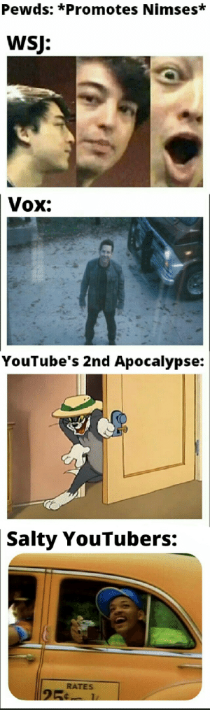 Being Salty, Vox, and Apocalypse: Pewds: *Promotes Nimses*  WSJ:  Vox:  YouTube's 2nd Apocalypse:  Salty YouTubers:  RATES  25 Chain of events