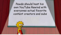 pls can we do it via /r/memes https://ift.tt/2rtMdGk: Pewds should host his  own YouTube Rewind with  everyones actual favorite  content creators and subs pls can we do it via /r/memes https://ift.tt/2rtMdGk