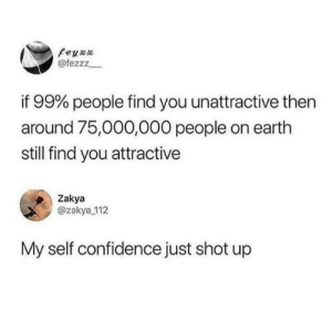 Confidence, Dank, and Earth: Peyax  @fezzz  if 99% people find you unattractive then  around 75,000,000 people on earth  still find you attractive  Zakya  @zakya 112  My self confidence just shot up