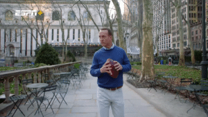 Peyton Manning meets @criscarter80 to re-create a famous PR stunt the @Giants pulled off in the 1920s: throwing a football off a skyscraper. 😱  Peyton's Places now streaming on ESPN+ https://t.co/9GDypAD0Io: Peyton Manning meets @criscarter80 to re-create a famous PR stunt the @Giants pulled off in the 1920s: throwing a football off a skyscraper. 😱  Peyton's Places now streaming on ESPN+ https://t.co/9GDypAD0Io
