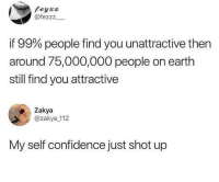 Confidence, Earth, and Will: Peyxx  @fezzz  if 99% people find you unattractive then  around 75,000,000 people on earth  still find you attractive  Zakya  @zakya 112  My self confidence just shot up Someone will always like you!!!!