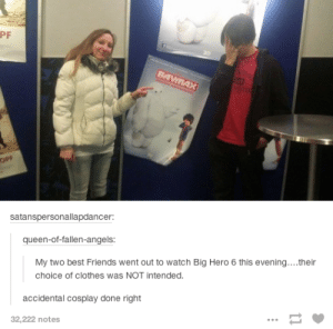 cosplayomg-humor.tumblr.com: PF  TUR  BAYMAX  OPF  satanspersonallapdancer:  queen-of-fallen-angels:  My two best Friends went out to watch Big Hero 6 this evening...their  choice of clothes was NOT intended.  accidental cosplay done right  32,222 notes cosplayomg-humor.tumblr.com