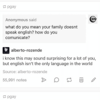 Family, Memes, and Ruby Rose: pgay  Anonymous said  what do you mean your family doesnt  speak english? how do you  comunicate?  alberto-rozende  i know this may sound surprising for a lot of you,  but english isn't the only language in the world  Source: alberto-rozende  55,991 notes >  pgay i just made ruby rose my wallpaper and i am loving it ~bri