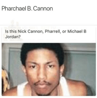 😂Damn: Pharchael B. Cannon  Is this Nick Cannon, Pharrell, or Michael B  Jordan? 😂Damn