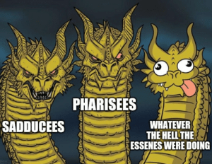 Second Temple Judaism in a nutshell: PHARISEES  SADDUCEES  WHATEVER  THE HELL THE  ESSENES WERE DOING Second Temple Judaism in a nutshell