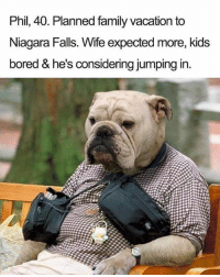 Bored, Family, and Funny: Phil, 40. Planned family vacation to  Niagara Falls. Wife expected more, kids  bored & he's considering jumping in. Poor Phil- he always tries so hard
