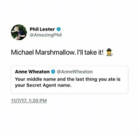 marie cakes: Phil Lester  @AmazingPhil  Michael Marshmallow. I'll take it!  Anne wheaton @AnneWheaton  Your middle name and the last thing you ate is  your Secret Agent name  11/7/17,1:20 PM marie cakes