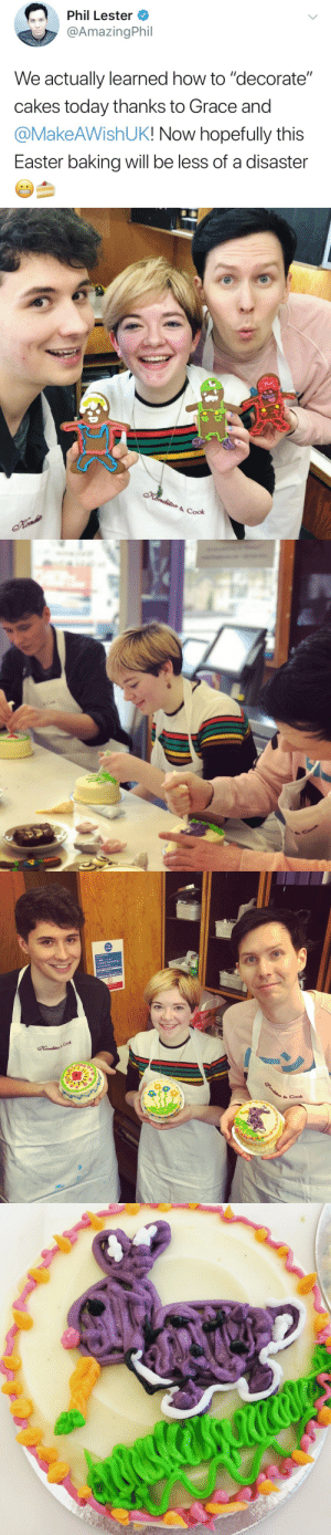 "Amazingphil: Phil Lester  @AmazingPhil  We actually learned how to ""decorate""  cakes today thanks to Grace and  @MakeAWishUK! Now hopefully this  Easter baking will be less of a disaster   Fire  action  8 Cook"