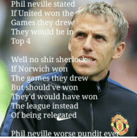 No Shit: Phil neville stated  If United won the  Games the  dre  They would be i  Top 4  Well no shit sherlock  If Norwich won  The games they drew  But should've won  Ahey'd would have won  The league instead  of being relegated  Phil neville worse pundit eve