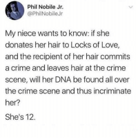 Crime, Love, and Memes: Phil Nobile Jr.  @PhilNobileJr  My niece wants to know: if she  donates her hair to Locks of Love,  and the recipient of her hair commits  a crime and leaves hair at the crime  scene, will her DNA be found all over  the crime scene and thus incriminate  her?  She's 12. Ahead of her time. (@fuckjerry)