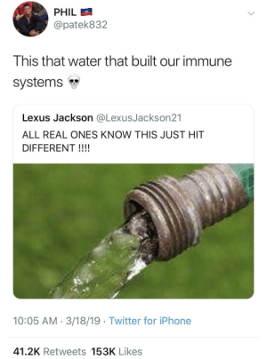 Iphone, Lexus, and Twitter: PHIL  @patek832  This that water that built our immune  systems  Lexus Jackson @LexusJackson21  ALL REAL ONES KNOW THIS JUST HIT  DIFFERENT !!!!  10:05 AM 3/18/19 Twitter for iPhone  41.2K Retweets 153K Likes Water had a lil bite to it