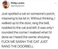 Animals, Love, and Memes: Philip Larkin  @philiplarkin  Just spotted a cat on someone's porch,  miaowing to be let in. Without thinking, I  walked up to the door, rang the bell,  nodded to the cat and left. It was onlyI  rounded the corner I realised what l'o  done as I heard the owner shouting  FUCK ME SARAH THE CAT JUST  RANG THE DOORBELL Follow my other account @x__social_butterfly_x if you love animals!!