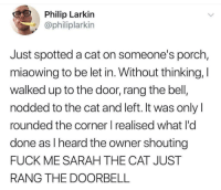 Fuck, Irl, and Me IRL: Philip Larkin  @philiplarkin  Just spotted a cat on someone's porch,  miaowing to be let in. Without thinking, I  walked up to the door, rang the bell  nodded to the cat and left. It was onlyl  rounded the corner I realised what l'o  done as I heard the owner shouting  FUCK ME SARAH THE CAT JUST  RANG THE DOORBELL me irl