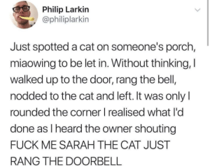 Well shit: Philip Larkin  @philiplarkin  Just spotted a cat on someone's porch,  miaowing to be let in. Without thinking, I  walked up to the door, rang the bell,  nodded to the cat and left. It was onlyI  rounded the corner l realised what I'd  done as l heard the owner shouting  FUCK ME SARAH THE CAT JUST  RANG THE DOORBELL Well shit