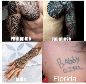 Florida, India, and Japanese: Philippine  Japanese  BAbby  Florida  India No ragrets (- Can we make this old vid go viral?)