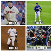 Memes, Nfl, and Philadelphia Phillies: Phillies  FINE SO  NEW YORa  FINE: $0  FINE SO  FINE: S20.000 That's not fair! #CrotchGate  Follow Us NFL Memes!  Credit - Total Pro Sports
