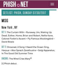 David Bowie, Memes, and New York: PHISH NET  SETLIST: PHISH, SUNDAY 07/30/2017  MSG  New York, NY  SET 1: The Curtain With> Runaway Jim, Waking Up  Dead, Esther, Home, Brian and Robert, Nellie Kane,  Colonel Forbin's Ascent Fly Famous Mockingbird>  David Bowie  SET 2: Drowned, A Song I Heard the Ocean Sing,  Harpua> Also Sprach Zarathustra > Golgi Apparatus,  In The Good Old Summer Time  ENCORE: The Wind Cries Maryl]  [1] Phish debut. Having some serious fomo right now. Phish bakersdozen nevermissasundayshow
