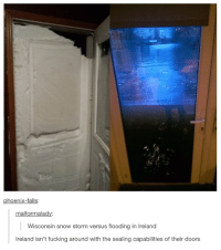 snow storm: phoenix-falls:  malformalady  Wisconsin snow storm versus flooding in Ireland  Ireland isn't fucking around with the sealing capabilities of their doors