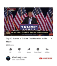"""Memes, Http, and Movie: PHOENIX  k6:52pm MT  TRUMP  We will build a Great Wall along the southern border  Top 10 Scenes in Trailers That Were Not In The -  Movie  200K views  3K  101  Share Download Add to  WatchMojo.com  15M subscribers  Molo  SUBSCRIBE <p>Watch Mojo Memes are a Versatile and Stable Investment via /r/MemeEconomy <a href=""""http://ift.tt/2ATPZeA"""">http://ift.tt/2ATPZeA</a></p>"""