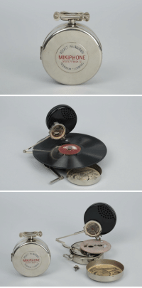 "Dope, Tumblr, and Blog: PHON  MIKIPHONE  SYSTEM VADASZ   NE  SYSTEM   SYSTE  MIKIPHONE  SYSTEM VADA anyskin:""Mikiphone"" - portable pocket gramophone. Swiss made 1924  This is dope as hell. Like the first MP3 player."