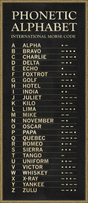 The international Morse code and phonetic alphabet: PHONETIC  ALPHABET  INTERNATIONAL MORSE CODE  A ALPHA  B BRAVO  C CHARLIE  D DELTA  E ECHO  F FOXTROT  G GOLF  H HOTEL  I INDIA  J JULIET  K KILO  L LIMA  M MIKE  N NOVEMBER  O OSCAR  P PAPA  Q QUEBEC  R ROMEO  S SIERRA  T TANGO  U UNIFORM  V VICTOR  W WHISKEY  X X-RAY  Y YANKEE  Z ZULU The international Morse code and phonetic alphabet
