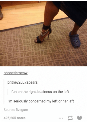 Im worried as wellomg-humor.tumblr.com: phoneticmeow:  britney2007spears:  fun on the right, business on the left  I'm seriously concerned my left or her left  Source: fivegum  495,205 notes Im worried as wellomg-humor.tumblr.com