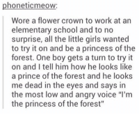 """Memes, Prince, and Elementary: phoneticmeow:  Wore a flower crown to work at an  elementary school and to no  surprise, all the little girls wanted  to try it on and be a princess of the  forest. One boy gets a turn to try it  on and I tell him how he looks like  a prince of the forest and he looks  me dead in the eyes and says in  the most low and angry voice """"l'm  the princess of the forest"""" https://t.co/AJ3JaBxt52"""