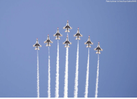 U.S. Air Force Thunderbirds return to Nellis Air Force Base, Nevada, after performing their last show of the season on Monday.: Photo by Airman 1st Class Bryan Guthrie/DVIDS U.S. Air Force Thunderbirds return to Nellis Air Force Base, Nevada, after performing their last show of the season on Monday.