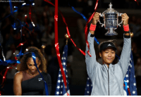 Memes, Getty Images, and Images: (Photo by Julian Finney/Getty Images) Naomi Osaka of Japan holds up the championship trophy after winning the U.S. Open Women's Final against Serena William.